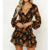 Fashion V-Neck Printed Long-Sleeved Dress