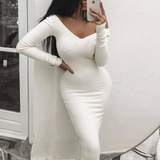 Deep V-Neck Knit Long Sleeve Dress