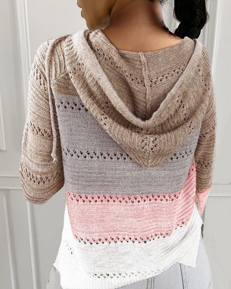 V-Neck Long Sleeve Solid Color Knitted Sweater