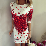 Round neck short sleeve printed dress