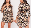 Fashion Long Sleeve Leopard Print Dress