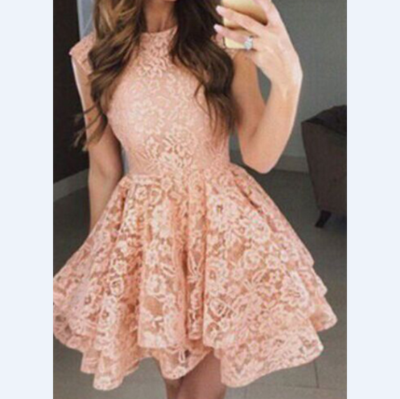 Fashion Solid Color Round Neck Sleeveless Lace Dress