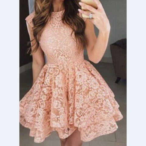 Round Neck Short Sleeve Lace Halter Dress