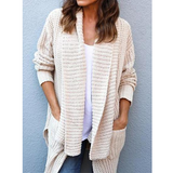 Solid Color Loose Long Sleeve Cardigan Sweater Coat
