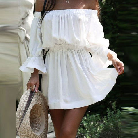V-NECK SHORT SLEEVE PLEATED DRESS