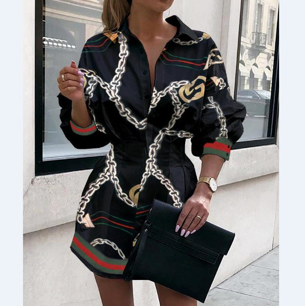 Casual Sexy Printed Long Sleeve Dress