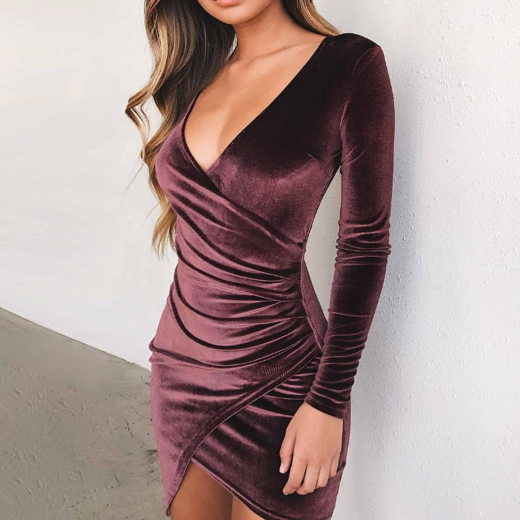Design V-Neck Long Sleeve Irregular Dress