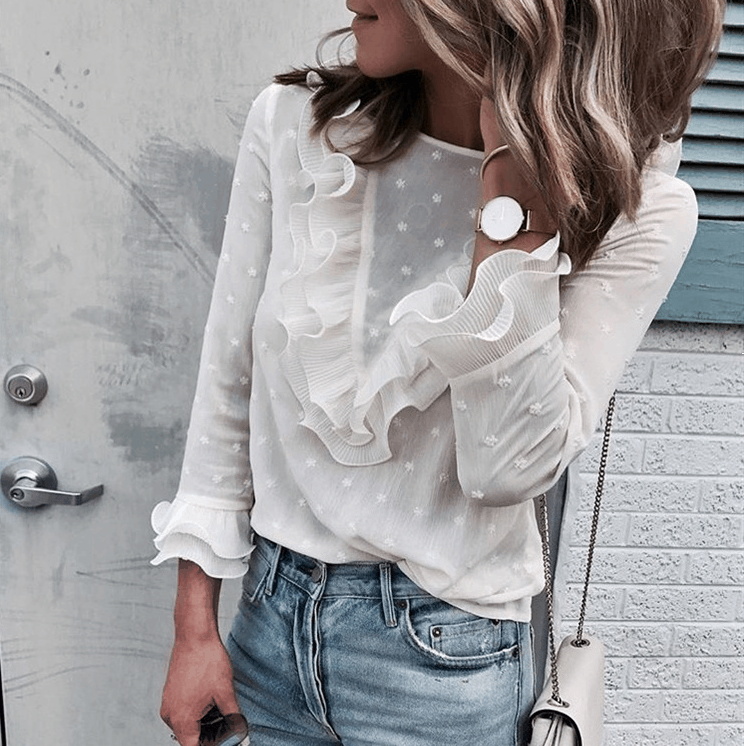 Fashion White Long-Sleeved Round Neck Button Top
