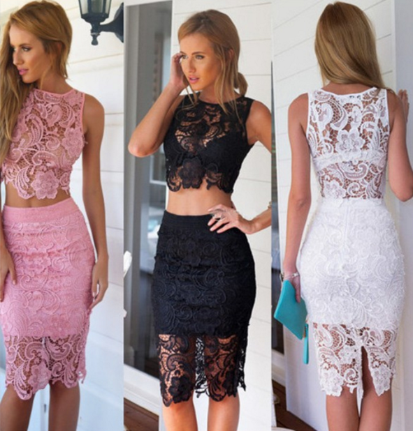 Sexy lace embroidered sleeveless two-piece dress