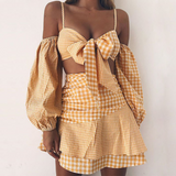 Women's Chiffon Plaid Sexy Two-Piece Dress