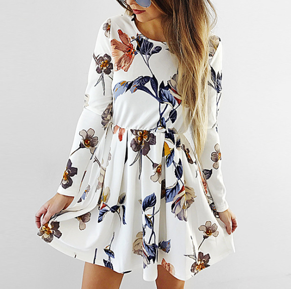 Round Neck Fashion Long Sleeve Print Dress