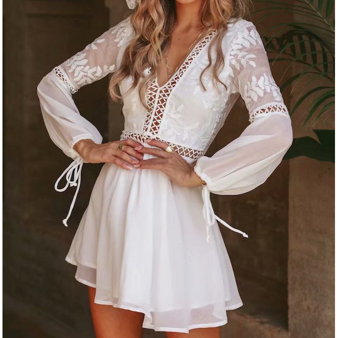 Women'S Lace Long Sleeves Backless Dress