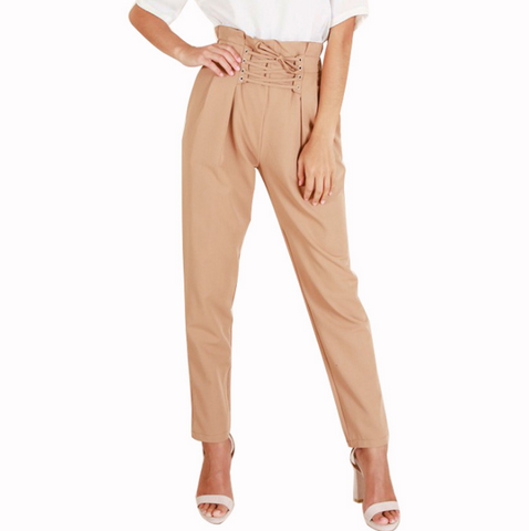 Design moon elastic force long pants