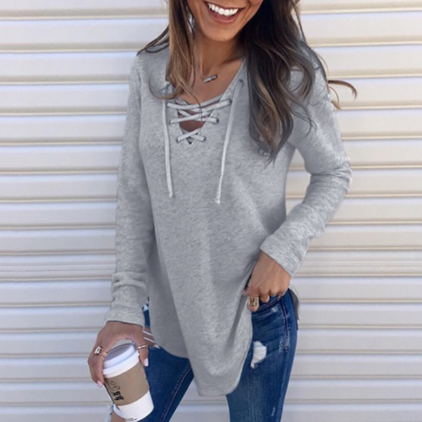 V-Neck Fashion Long-Sleeved Sweater
