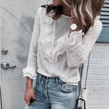 Fashion White Long Sleeve Round Neck Top
