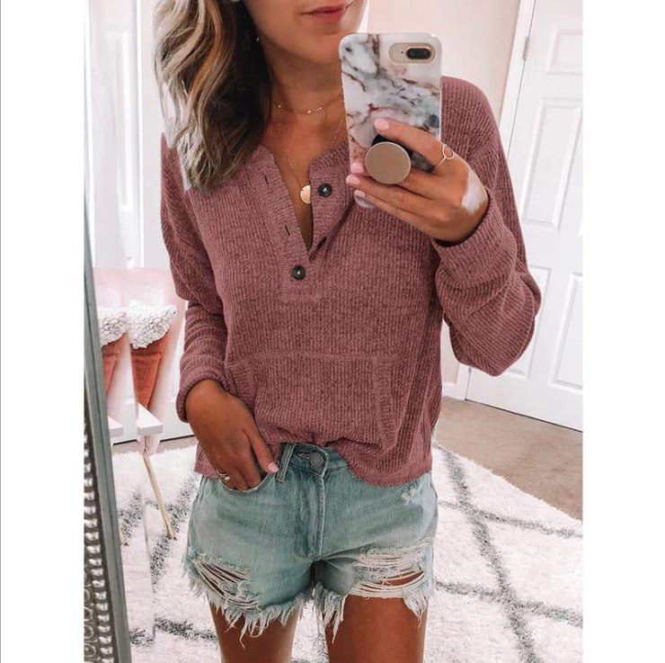 Solid Color V-Neck Button Long-Sleeved T-Shirt