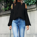 Loose Women's Long Sleeve Shirt Off Shoulder Top