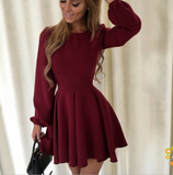 Women's Solid Color Fashion Sexy Round Neck Princess Dress