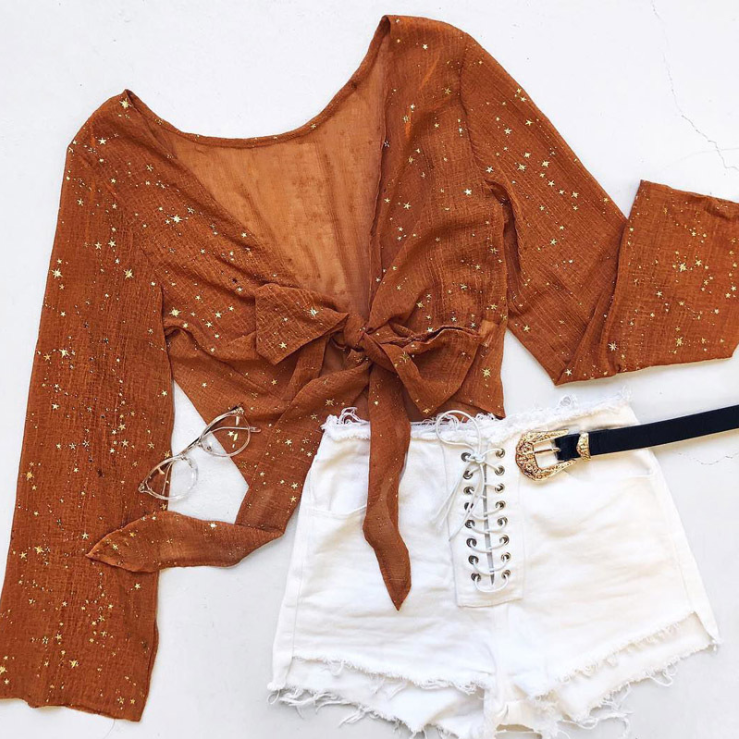 Women V-Neck Long-Sleeved Lace Five-Pointed Star Top