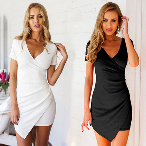 Women'S Sexy V-Neck Short Sleeve Dress