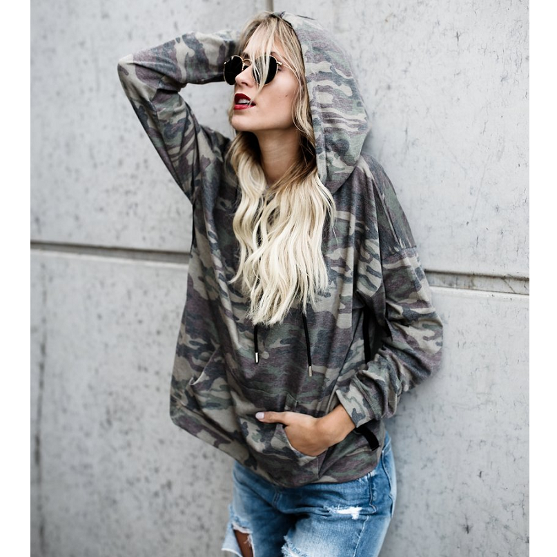 Women'S Long-Sleeved Hooded Printing Sweater