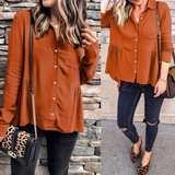 Women'S Loose Long Sleeve Solid Color Shirt