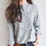 Solid Color Striped Embroidery Long Sleeve Shirt