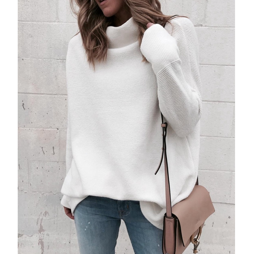 White Fashion High-Necked Long-Sleeved Knit Sweater