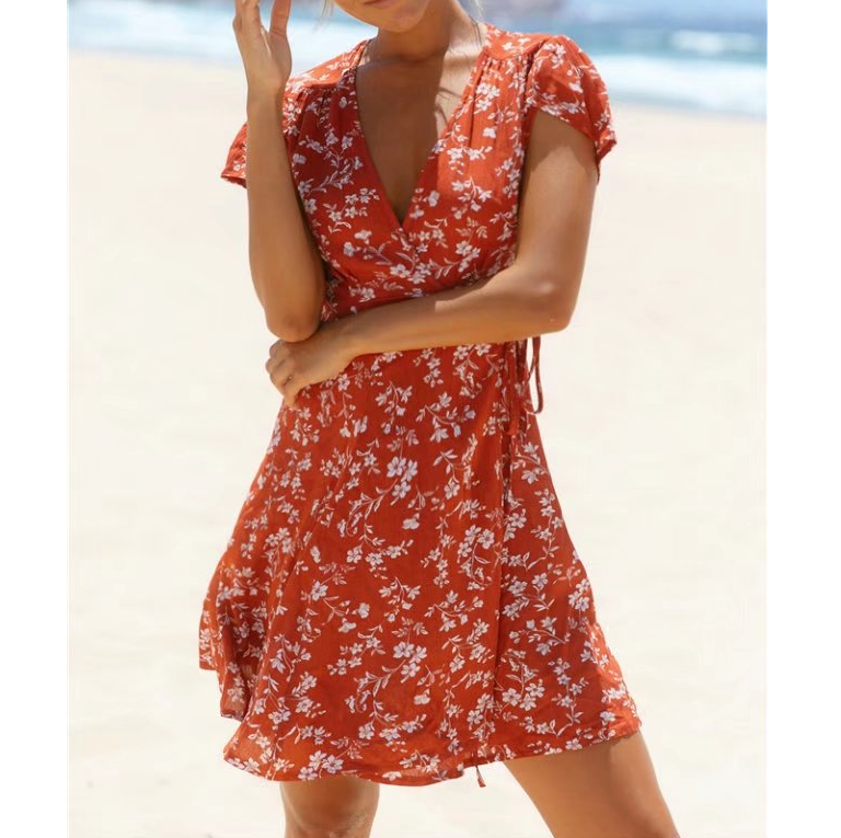 Women'S V-Neck Short-Sleeved Printed Dress