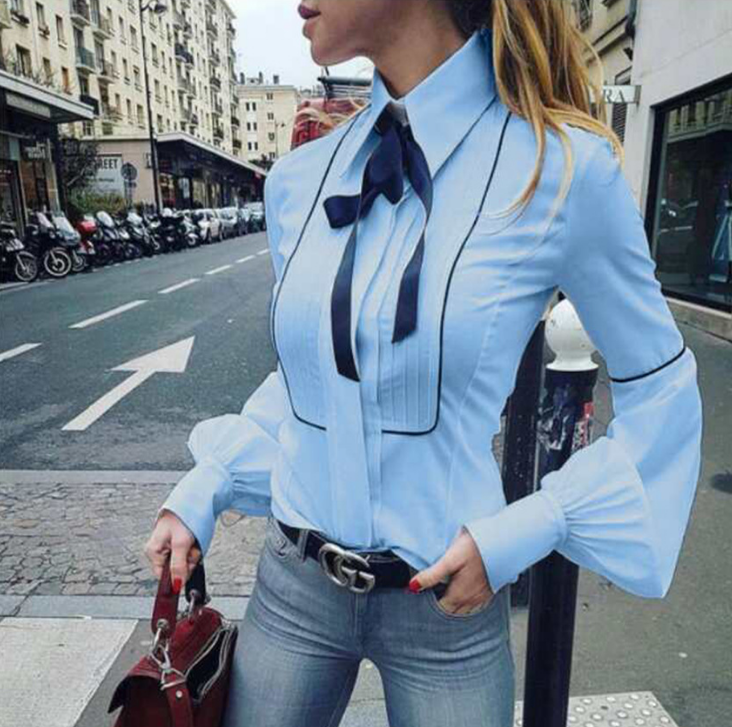 Women Bowknot Long-Sleeved White Shirt
