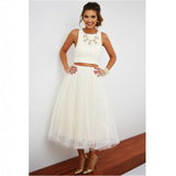 Fashion white sleeveless two-piece dress