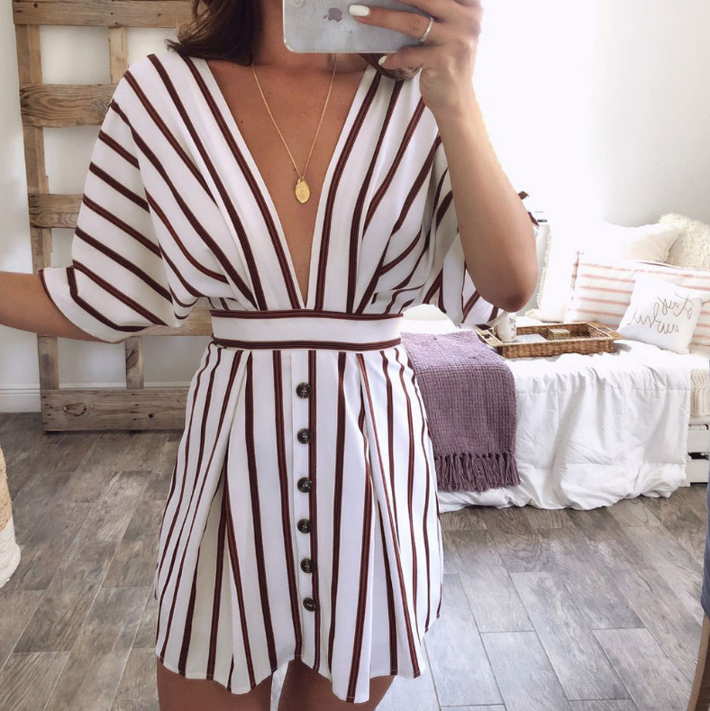 V-Neck Striped Women'S Sexy Dress