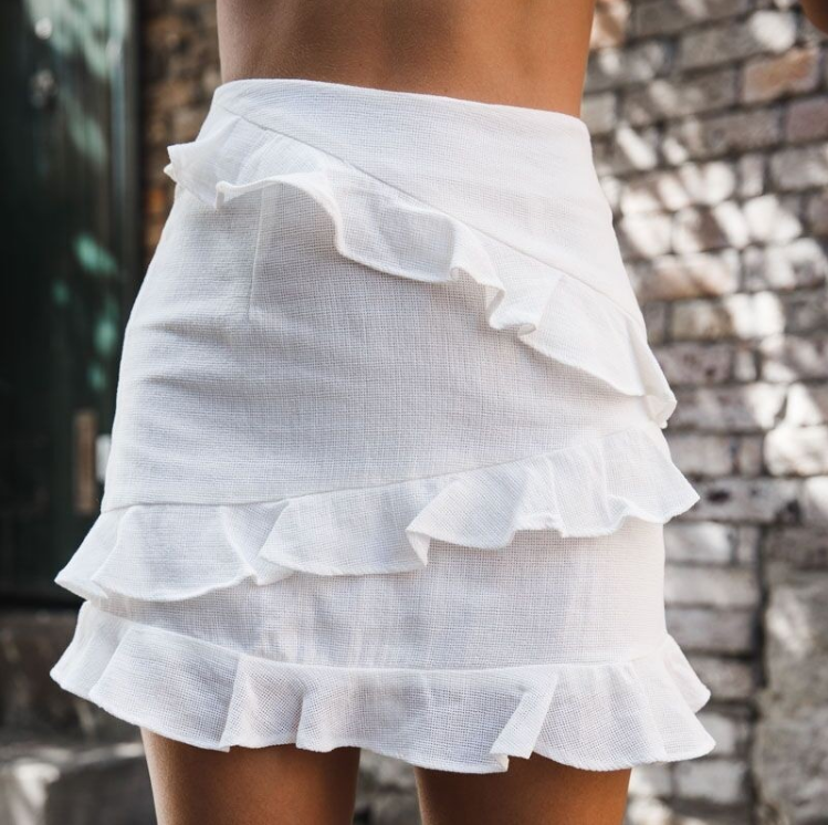 Solid Color White Flounced Skirts