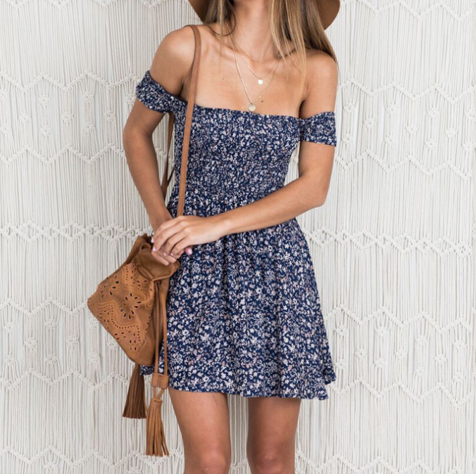 Sexy One-Neck Short Sleeve Dress