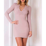 V-Neck Slim Long-Sleeved Hip Dress