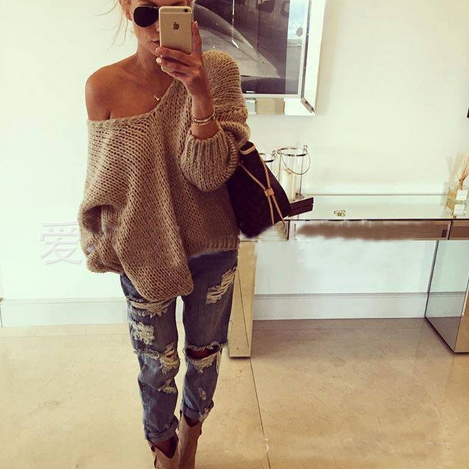 FASHION V-NECK LONG-SLEEVED KNIT SWEATER