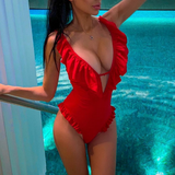 Red Sexy Backless One-Piece Swimsuit Bikini