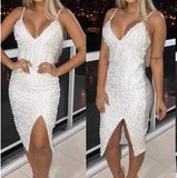 Solid Color Sequins Sling Sexy Dress