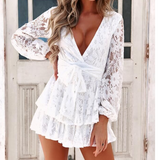 Sexy V-Neck Long-Sleeved Lace Jumpsuit