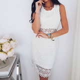 Sexy Sleeveless Lace White Dress