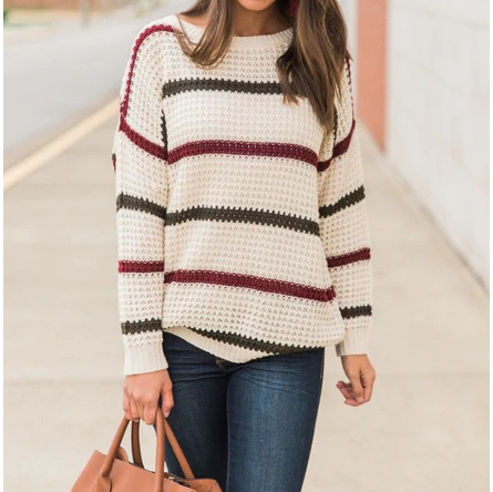 Casual Loose V-Neck Striped Long-Sleeved T-Shirt