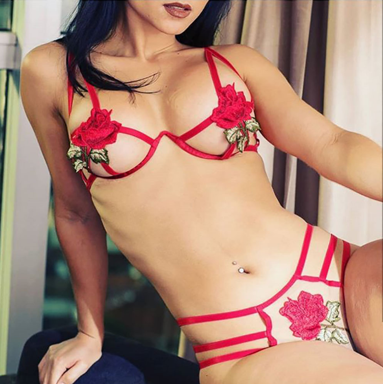 Sweet Flower Embroidered Underwear Set