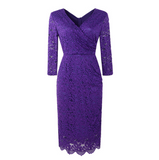 Cross V-Neck Lace Pencil Dress