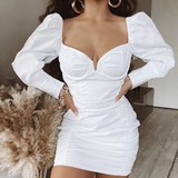 V-Neck Wrap Chest Puff Sleeve Hip Dress