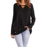 Solid Color Round Neck Long Sleeve Large Size Button Shirt