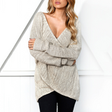 Women's V-neck Knit Long Sleeve Sweater