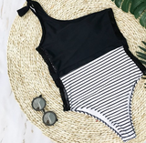 2018 Sexy Stripe Lace One Piece Swimwear
