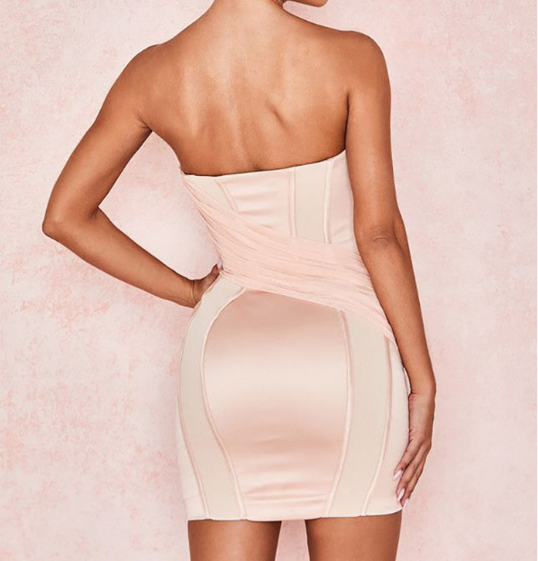 Chest Wrapped Strapless Sexy Package Hip Dress