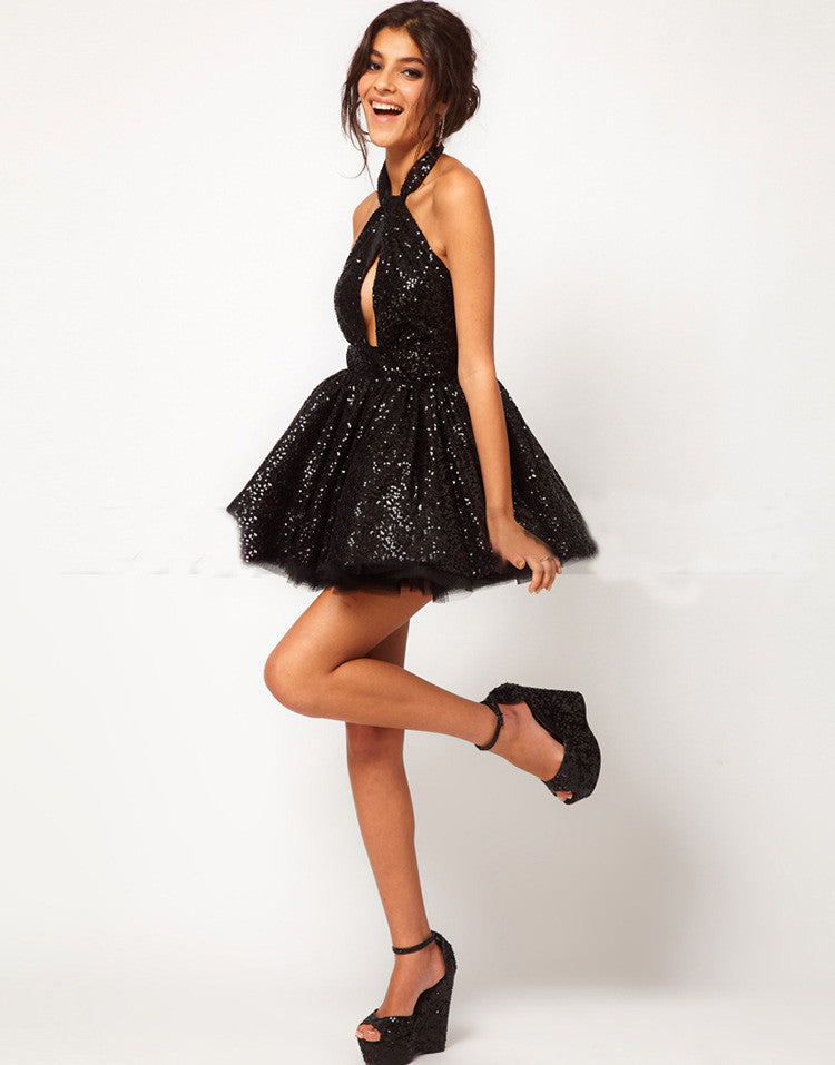 Fashion V-neck sequined dress