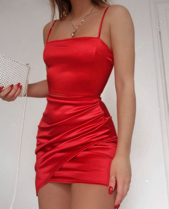 Sling Solid Color Sexy Red Sleeveless Dress